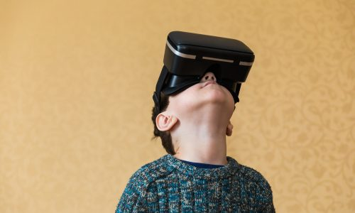 Boy in the glasses of virtual reality